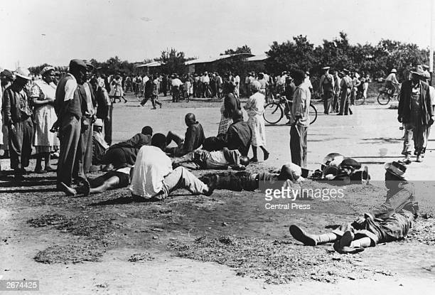 Dead and wounded rioters lying in the streets of Sharpeville South Africa following an antiapartheid demonstration organized by the PanAfricanist...
