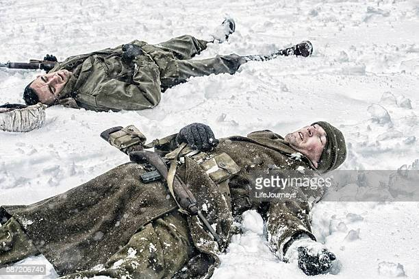 dead and wounded wwii us infantry soldiers - dead soldier stock photos and pictures