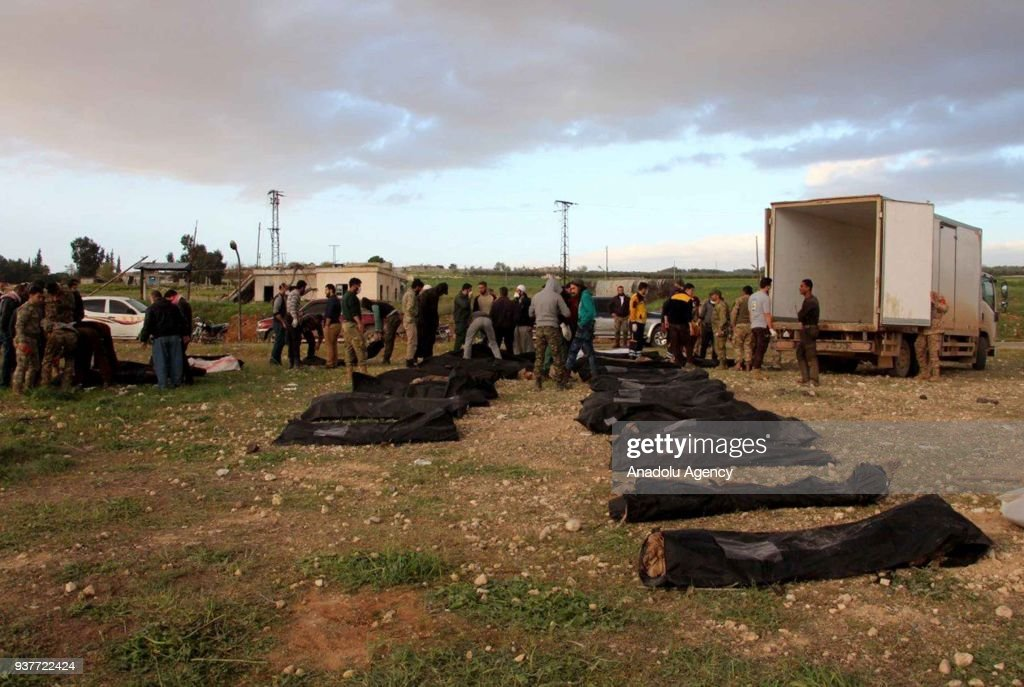 Mass grave of FSA members discovered in Syrias Afrin : News Photo