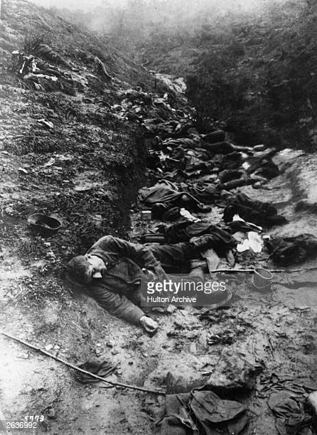 Dead bodies in the trenches the results of German machine guns and shelling at the Hill of Cividale in Italy