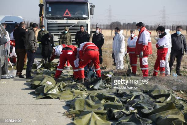 Dead bodies of passengers are brought from the site by search and rescue team members after a Boeing 737 plane belonging to a Ukrainian airline...