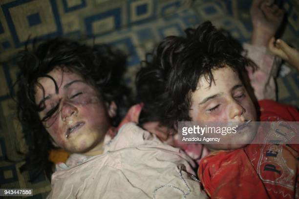 Dead bodies of Syrian kids are seen after Assad regime forces allegedly conducted poisonous gas attack to Douma town of Eastern Ghouta in Damascus...