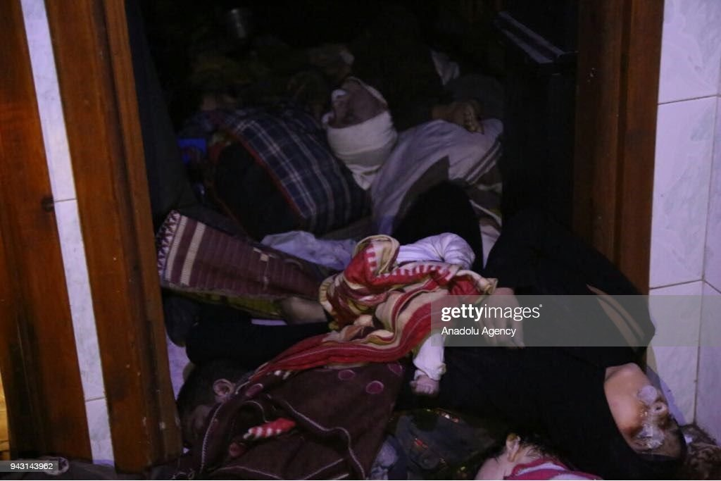 Dead bodies of Syrian people are seen after Assad regime forces allegedly conducted poisonous gas attack to Duma town of Eastern Ghouta in Damascus, Syria on April 07, 2018.