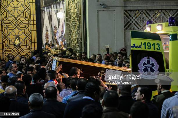 Dead bodies of those who lost their lives in Egypt church bombings are being take to the St George cemetery in Tanta Egypt on April 09 2017 Two...