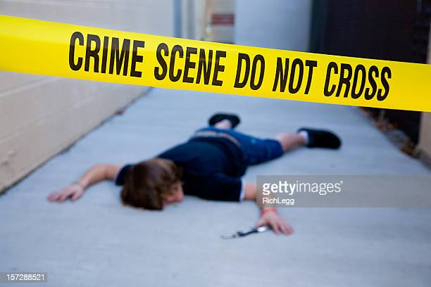 dead body at a crime scene - murder stock pictures, royalty-free photos & images