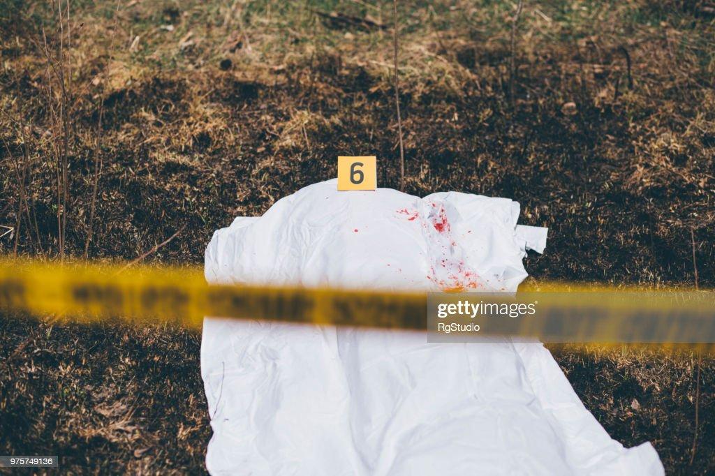 死体に血しぶきと白いシートで覆われています。 : ストックフォト