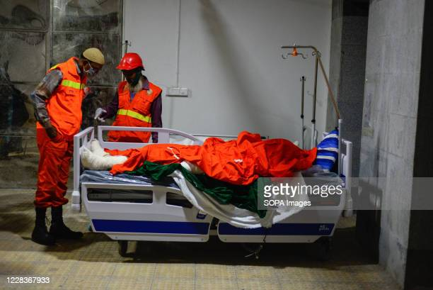 Dead body kept seen in front of the morgue. A heavy explosion occurred at the mosque of Narayanganj, Bangladesh on September 4. The explosion is...