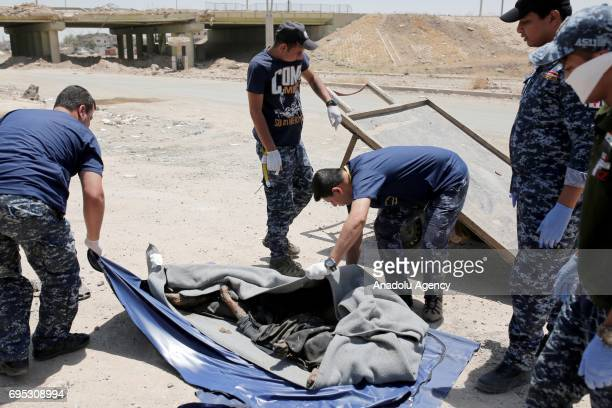 A dead body left in a street is being placed inside of a body bag by Iraqi army members in Mosul Iraq on June 12 2017 Civilians who fled the...