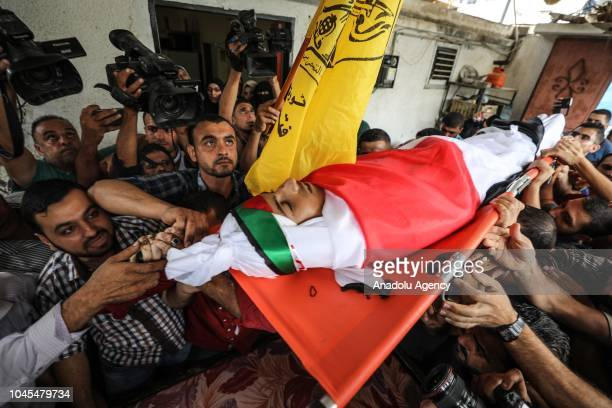 Dead body of Ahmed Semir Ebu Habl , who was killed after Israeli soldiers opened fire in a 'Great March of Return' demonstration at Beit Hanoun...