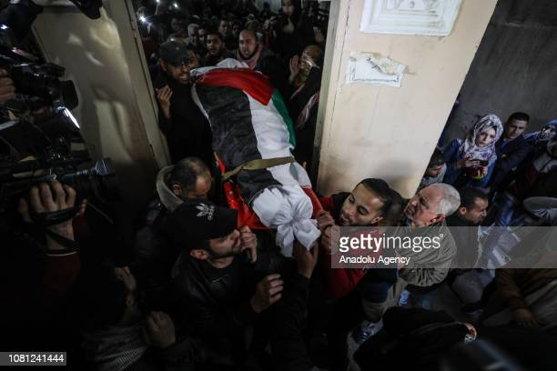 Dead body of Palestinian woman Amal Mustafa Abu Sultan who was killed by Israeli army gunfire while taking part in ongoing demonstrations near the...