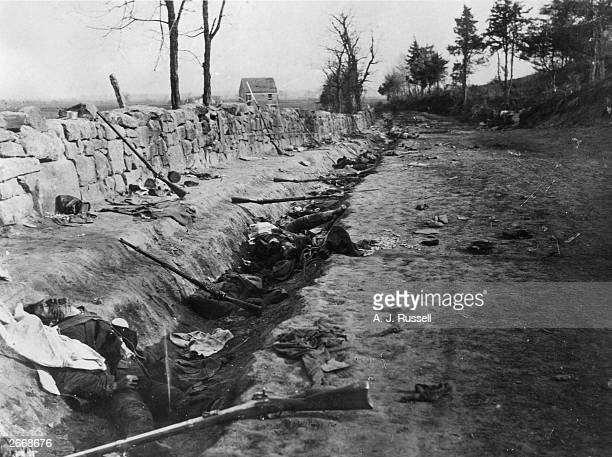 Dead Confederate soldiers lying in a trench along Telegraph Road at Fredericksburg Virginia after Sedgwick's attack during the Battle of...