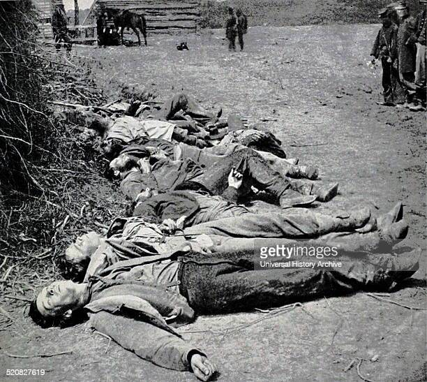 Dead Confederate soldiers of General Ewell's Corps who attacked the Union lines at the Battle of Spotsylvania, 19th May, 1864.