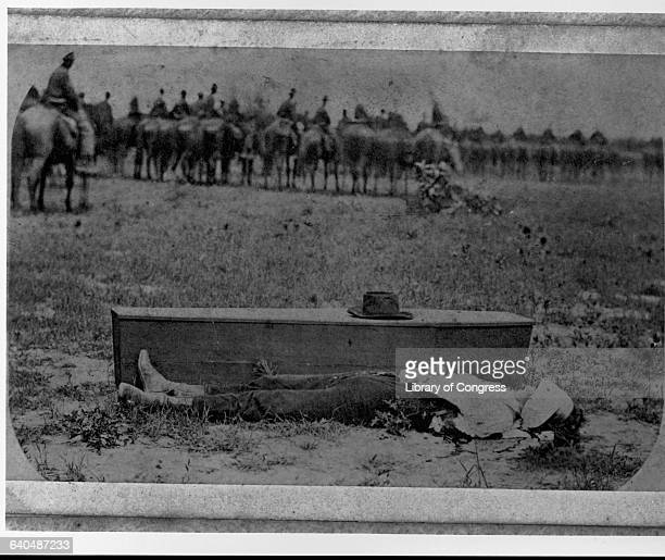 Dead Confederate Spy by Coffin After Union Execution