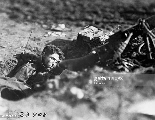 A dead German gunner in a machinegun nest at Villers Devy Dun Sassey France on November 4 1918 | Location Villers Devy Dun Sassey France