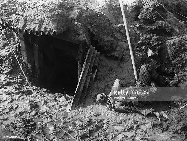 A dead German outside his dugout BeaumontHamel November 1916 British Front France General Battle Somme