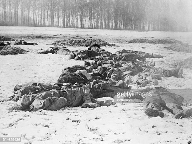 Dead German soldiers lay on a snowy battlefield after the Battle of the Bulge The soldiers attempted to storm the 101st Airborne command post but...