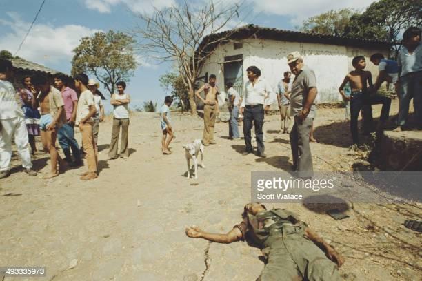 A dead government soldier in a village in El Salvador during the Salvadoran Civil War 1989