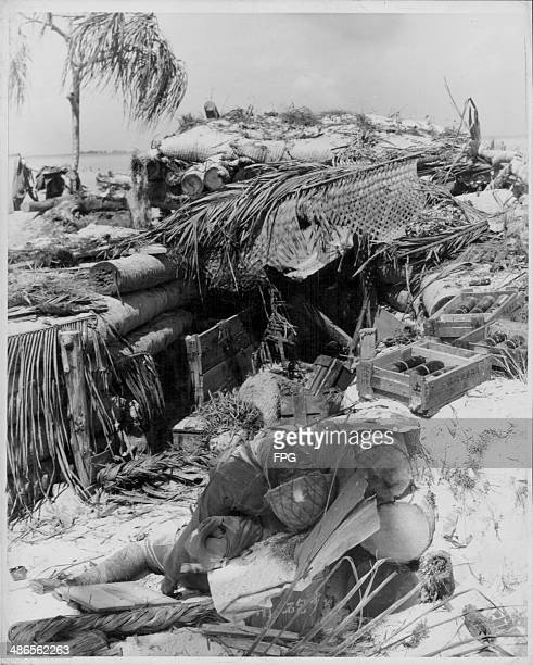 A dead Japanese soldier following the US attack at Tarawa during the Pacific Campaign of World War Two Kiribati circa 19431945