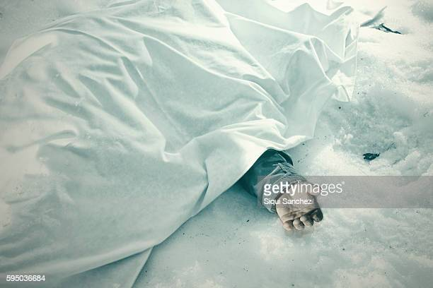 dead man in the snow - dead person stock pictures, royalty-free photos & images