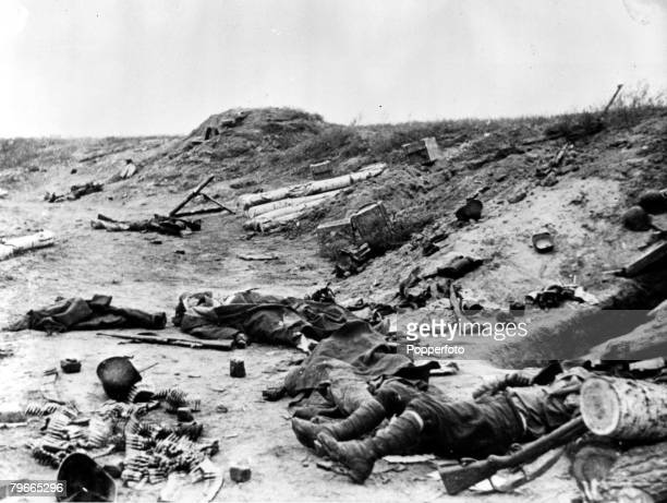 World War II 14th April 1943 Stalingrad Russia Dead soldiers on a Russian battlefield during the conflict