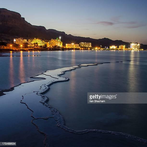 Dead Sea hotels at dusk.