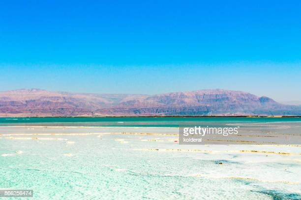 Dead Sea teal water and and salt with distant view of Jordan