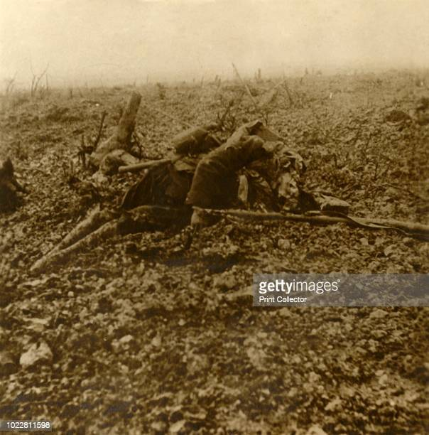 Dead soldier on Hill 304 after the Battle of Verdun northern France 1916 Photograph from a series of glass plate stereoview images depicting scenes...