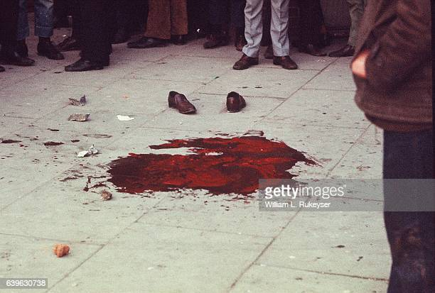 Dead victim's blood on the pavement near the Rossville Flats in Londonderry, Northern Ireland after British paratroopers' opened fire on a civil...