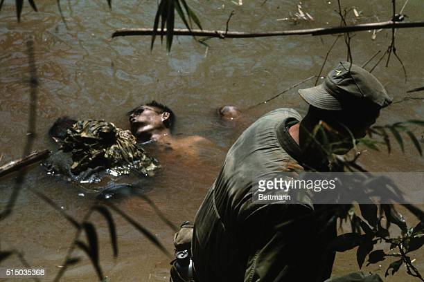 Dead Vietcong shot by Marines during Operation Stone2 in river with eyes gouged out