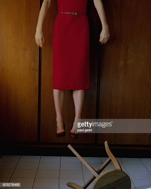 dead woman in red dress - hanging death photos stock pictures, royalty-free photos & images