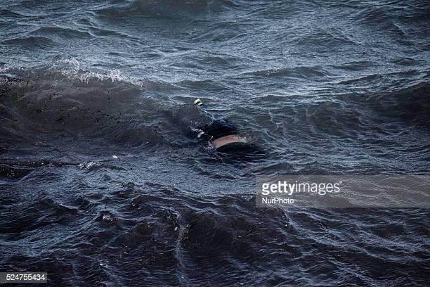 A dead woman's body floats in the sea near Molyvos Lesbos November 1 2015
