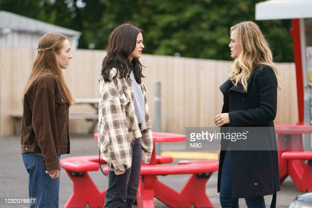 Deadhead Episode 302 -- Pictured: Holly Taylor as Angelina Meyer, Luna Blaise as Olive Stone, Melissa Roxburgh as Michaela Stone --