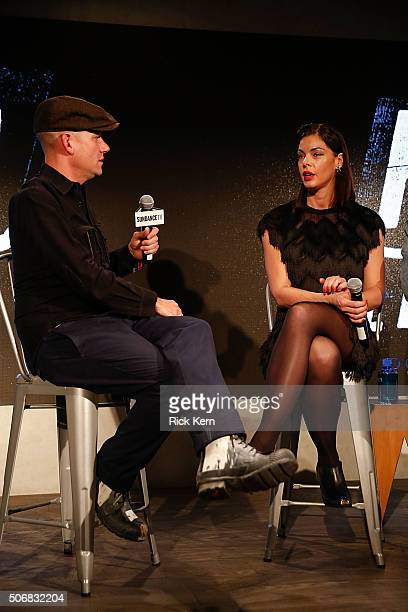 Deadline reporter Dominic Patten and actress Pollyanna McIntosh participate in a QA following SundanceTVs 'Hap And Leonard' Screening on January 25...