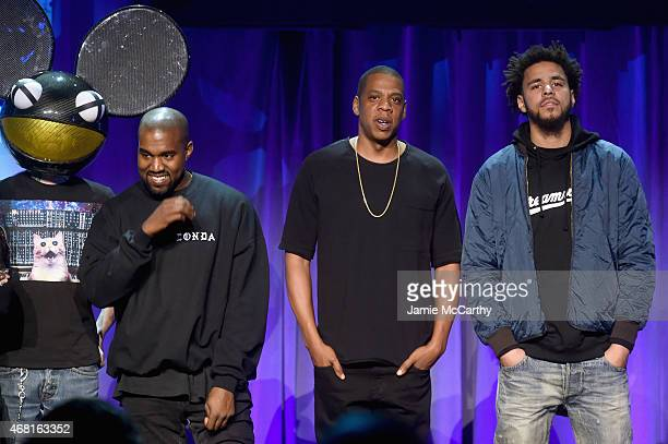 Deadmau5 Kanye West JAY Z and J Cole onstage at the Tidal launch event #TIDALforALL at Skylight at Moynihan Station on March 30 2015 in New York City
