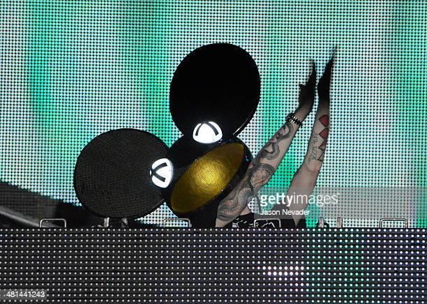 Deadmau5 performs during Ultra Music Festival at Bayfront Park Amphitheater on March 29 2014 in Miami Florida