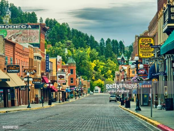 deadwood main street - south dakota stock photos and pictures