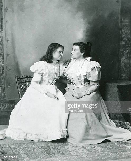 Deaf and blind student Helen Keller 'listens' to her teacher Anne Sullivan 1897