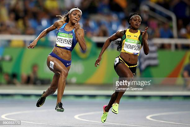 Deajah Stevens of the United States and Elaine Thompson of Jamaica compete during the Women's 200m Semifinals on Day 11 of the Rio 2016 Olympic Games...