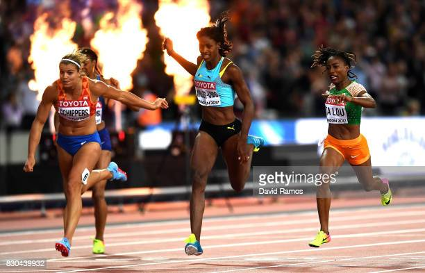Deajah Stevens of the United States, Dafne Schippers of the Netherlands, Shaunae Miller-Uibo of the Bahamas and Marie-Josee Ta Lou of the Ivory Coast...