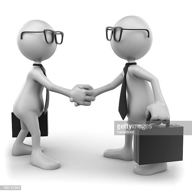 Deal: businessmen shaking hands, isolated on white