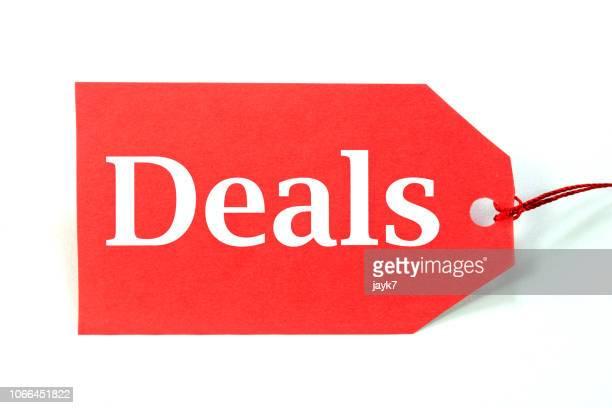 deal sale tag - prezzo messaggio foto e immagini stock