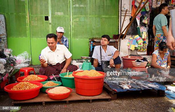 Dealer at their stalls at the market in Yangon on June 16 2016 in Yangon Myanmar