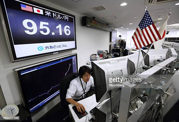 A dealer works in front of a monitor displaying the exchange rate of the yen against the US dollar at a foreign exchange brokerage in Tokyo Japan on...