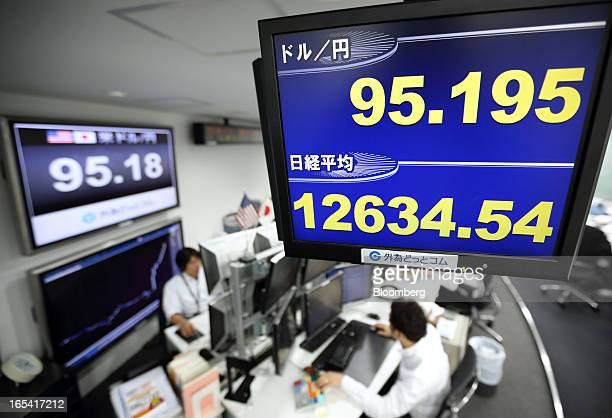 Dealers work under a monitor displaying the exchange rate of the yen against the US dollar top and the closing figure of the Nikkei 225 Stock Average...