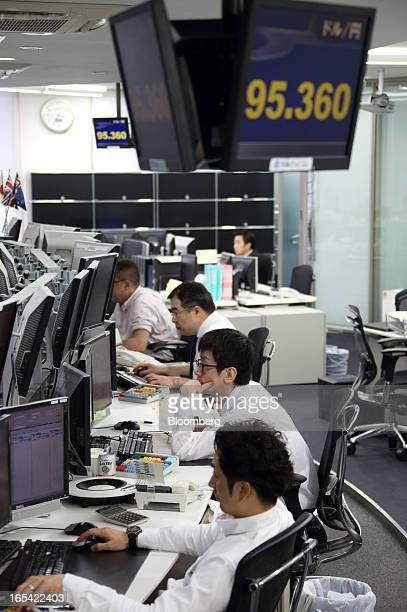 Dealers work under a monitor displaying the exchange rate of the yen against the US dollar at a foreign exchange brokerage in Tokyo Japan on Thursday...