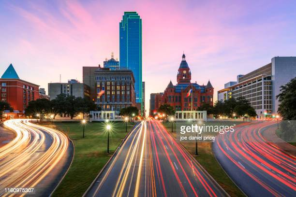 dealey plaza, the grasy knoll, old red museum of dallas county history & culture, dallas, texas, america - dallas texas stock pictures, royalty-free photos & images