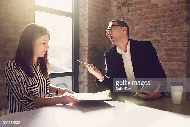 dealing with a bad boss - women dominating men stock photos and pictures