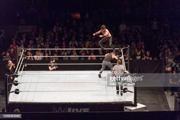 Dean Ambrose competes in the ring against Seth Rollins during the WWE Live Show at Lanxess Arena on November 7, 2018 in Cologne, Germany.