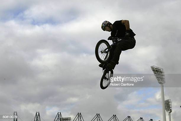 Dean Anastasiu of Australia gets some air during the Graphite Dirty Deeds BMX Dirt Jump competition as part the 2004 Planet X Games at the Swan Oval...