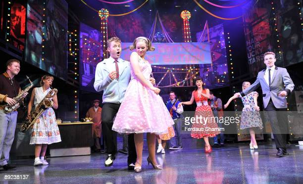 J Dean and Daisy WoodDavis perform during a photocall for Dreamboats and Petticoats as it transfers to the West End at The Savoy Theatre on July 24...